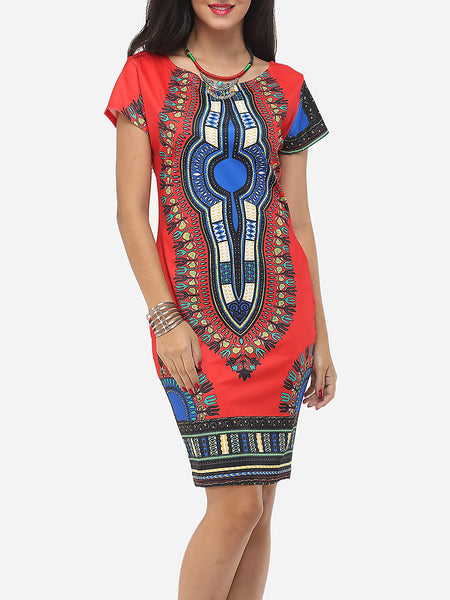 Bohemian Printed Round Neck Bodycon-dress - Bychicstyle.com