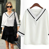 ByChicStyle White Plain V-neck Casual Blouse