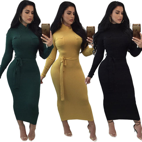 Casual 3 Color Sexy Long Sleeve Hip Slim Dress