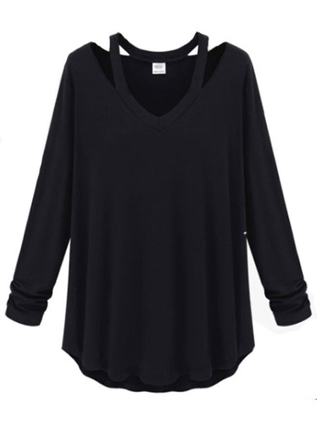 Casual Attractive V Neck Plain Long-sleeve-t-shirt