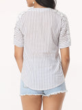 ByChicStyle Hollow Out Striped Exquisite V Neck Short-sleeve-t-shirt - Bychicstyle.com