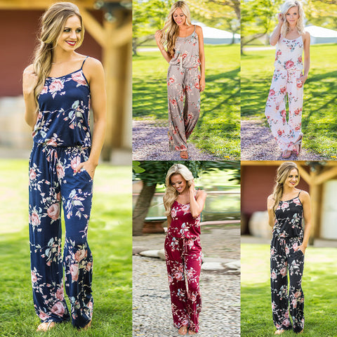 Casual Floral Print Women's Fashion Casual Garden Sleeveless Jumpsuit Rompers