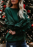 ByChicStyle Green Cascading Ruffle Round Neck Long Sleeve Fashion Pullover Sweatshirt