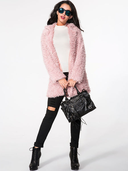 Lapel Plain Fluffy coat - Bychicstyle.com