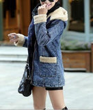 ByChicStyle Blue Patchwork Faux Fur Pockets Hooded Casual Going Out Cardigan Coat