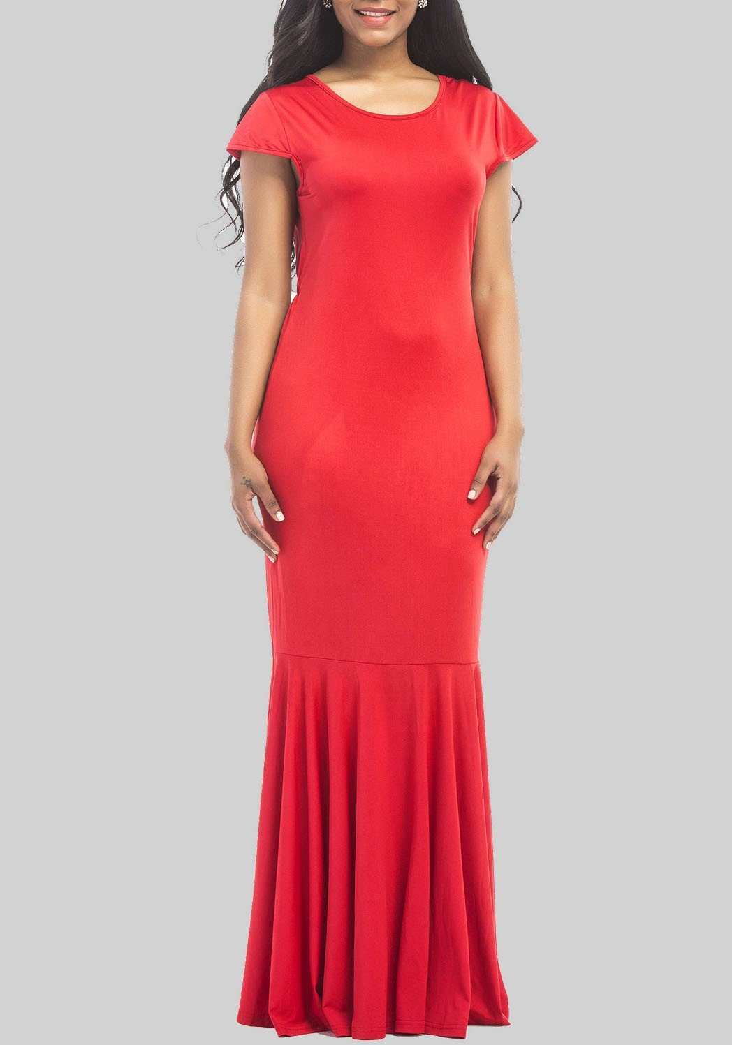 Red Draped Round Neck Short Sleeve Casual Maxi Dress