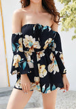 ByChicStyle Navy Blue Floral Drawstring Elastic Waist Fashion Short Jumpsuit