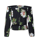 ByChicStyle Black Floral Print Boat Neck Fashion Cotton Blouse