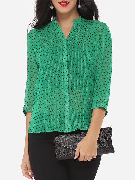 Casual Polka Dot Modern V Neck Blouse