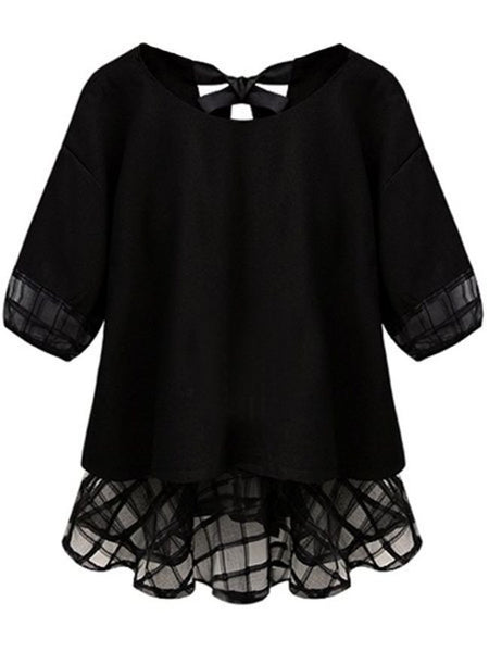 Lovely Round Neck Bowknot Patchwork Plus Size Shirt - Bychicstyle.com
