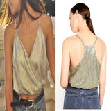 ByChicStyle Light Green Plain Spaghetti Strap Gilding Oversized Crop Vest