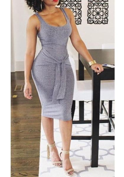 Grey Plain Round Neck Sleeveless Fashion Midi Dress