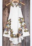 ByChicStyle White Floral Drawstring Ruffle Irregular Round Neck Midi Dress