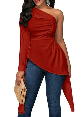 Red Irregular Pleated Asymmetric Shoulder High-low Formal Elegant Long Sleeve Blouse
