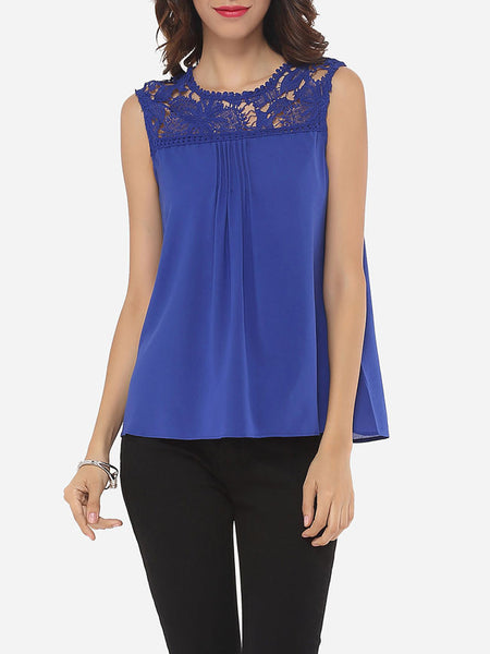 Hollow Out Lace Patchwork Plain Exquisite Crew Neck Blouse - Bychicstyle.com