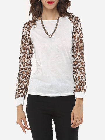 Leopard Printed Modern Round Neck Long-sleeve-t-shirt - Bychicstyle.com