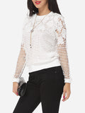 ByChicStyle Hollow Out Lace Plain Exquisite Crew Neck Long-sleeve-t-shirt - Bychicstyle.com
