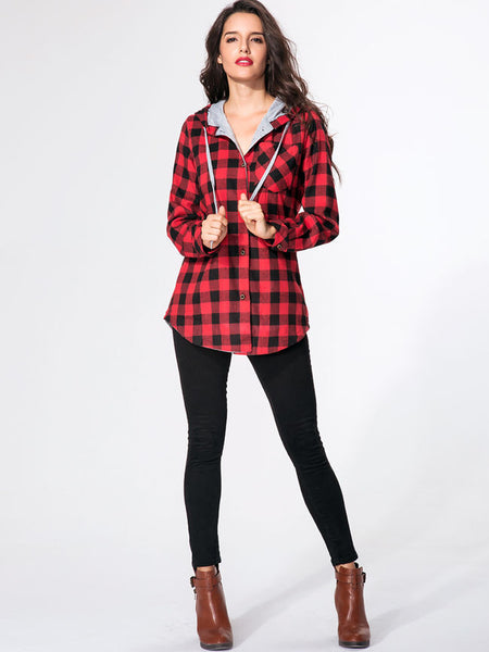 Hooded Drawstring Single Breasted Plaid Printed Hoody - Bychicstyle.com