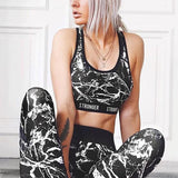 ByChicStyle Black Monogram Print Two Piece High Waisted Sports Long Jumpsuit