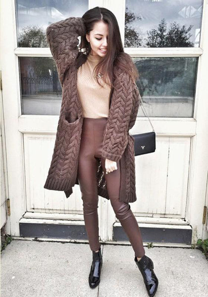 Coffee Pockets Turndown Collar Long Sleeve Casual Cardigan Sweater