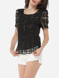 ByChicStyle Round Neck Organza Plaid Plain Seethrough Blouse - Bychicstyle.com
