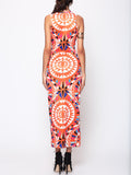 ByChicStyle Tribal Geometric Printed Round Neck Maxi Dress - Bychicstyle.com