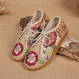 ByChicStyle Casual Embroidered Flower Platform Lace Up Folkways Casual Shoes