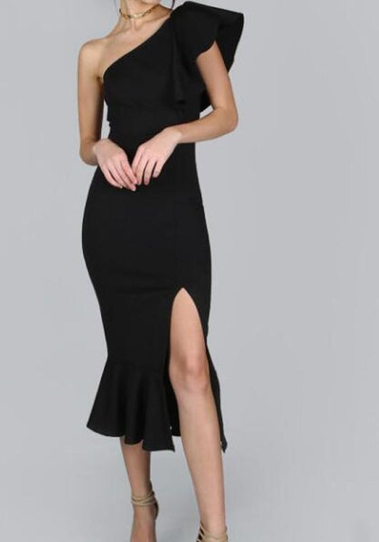 Black Ruffle Irregular Slit One Shoulder Mermaid Bodycon Elegant Prom Evening Party Midi Dress