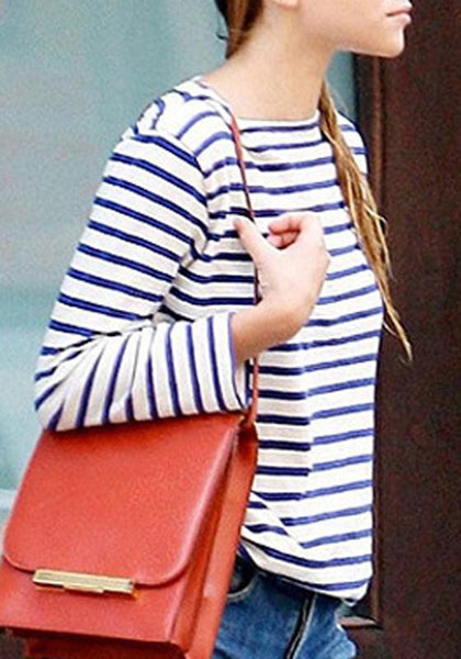 Blue Striped Embroidery Round Neck Long Sleeve T-Shirt