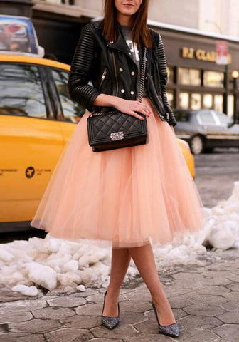 8b23b43cd20f94 Pink Grenadine Fluffy Puffy Tulle Plus Size High Waisted Homecoming Party  Tutu Midi Skirt