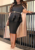 ByChicStyle Black Cascading Ruffle High Waisted Peplum Formal Office Worker/Daily Elegant Blouse