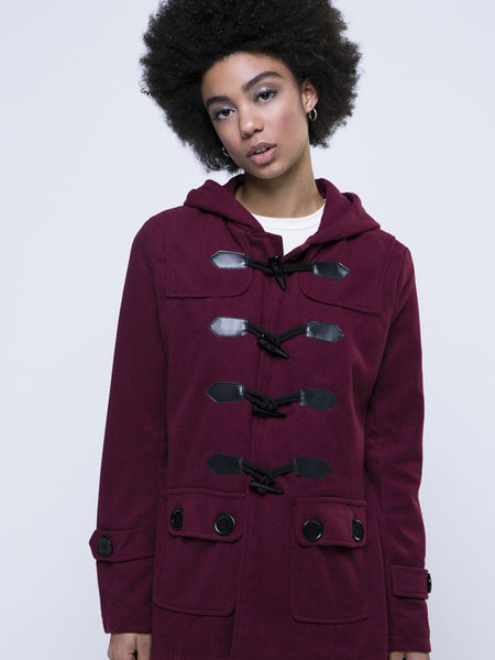 Hooded Flap Pocket Single Breasted Plain Woolen Coat - Bychicstyle.com