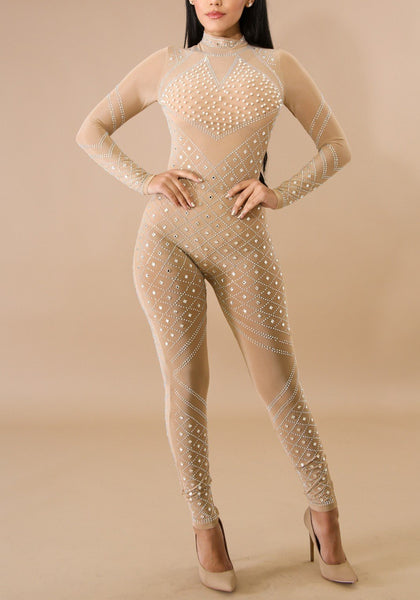 Apricot Mosaic Rhinestone Zipper Bodycon High Waisted Clubwear Party Long Jumpsuit