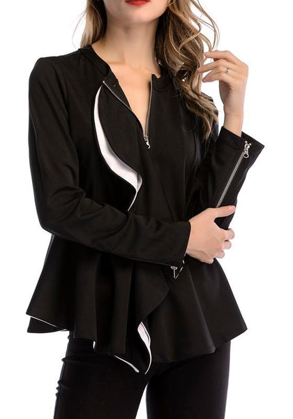 Black Ruffle Zipper Cardigan Turndown Collar Peplum Fashion Coat