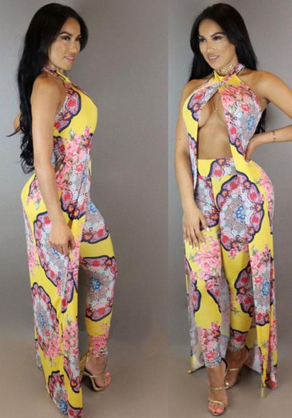 Yellow Flowers Print Halter Neck Backless Two Piece Vintage Long Jumpsuit