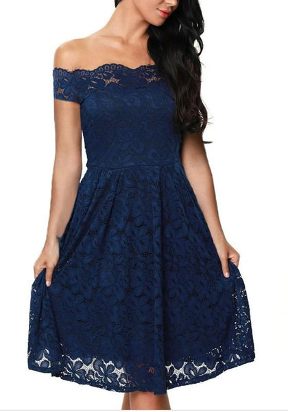 Blue Floral Lace Off Shoulder Bandeau Backless A-line Classic Midi Dress