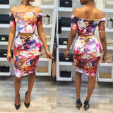 ByChicStyle Multicolor Flowers Print Off Shoulder Two Piece Slim Clubwear Midi Dress