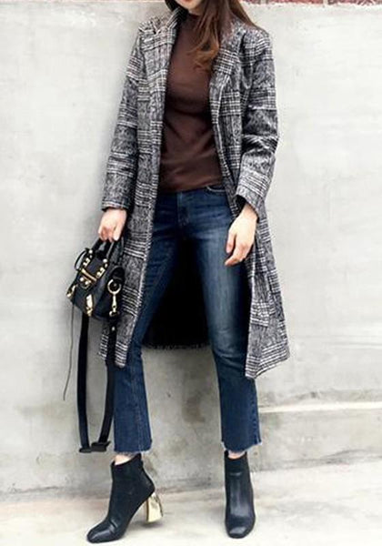 Grey Plaid Buttons Pockets Slit Turndown Collar Long Sleeve Thick Coat