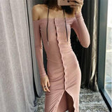 ByChicStyle Pink Plain Bandeau Single Breasted Off Shoulder Slim Casual Midi Dress