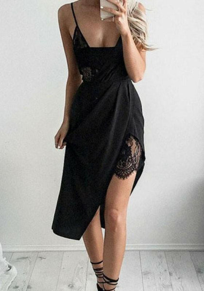 Black Patchwork Lace Condole Belt Irregular Midi Dress