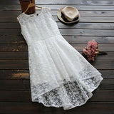 ByChicStyle White Patchwork Hollow-out Lace Irregular Zipper Fashion Midi Dress