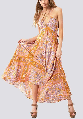 Orange Floral Tie Back Condole Belt Bohemian Maxi Dress