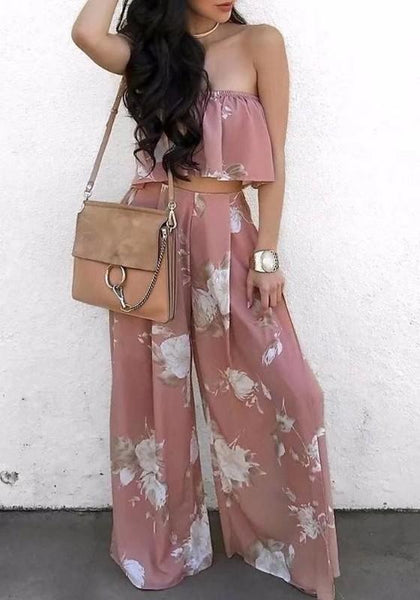 Pink Floral Ruffle Off Shoulder Backless Two Piece Sweet Wide Leg Long Jumpsuit