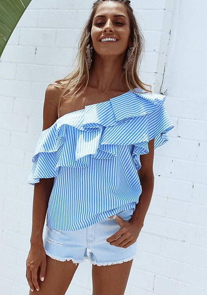 Blue Striped Asymmetric Shoulder Cascading Ruffle Short Sleeve Blouse