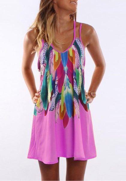 New Women Pink Floral Colorful Feather Spaghetti Strap Print U-neck Casual Plus Size Mini Dress