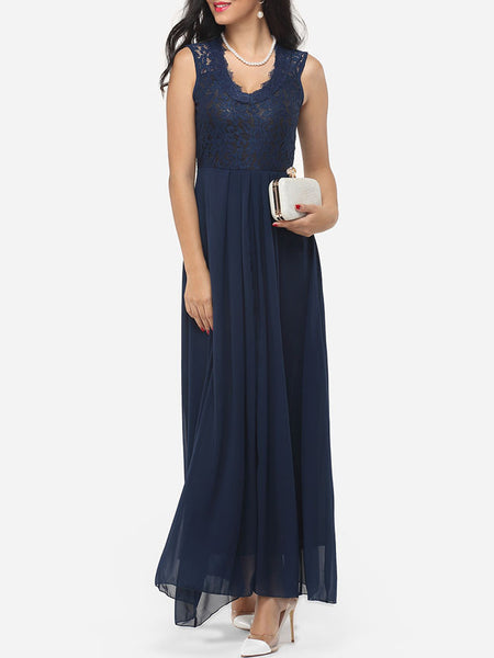 Casual Zips V Neck Dacron Hollow Out Lace Patchwork Plain Evening Dress