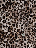 ByChicStyle Casual Pockets V Neck Dacron Leopard Printed Blouse