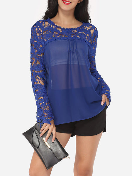 Hollow Out Lace Patchwork Plain Printed Courtly Round Neck Long-sleeve-t-shirt - Bychicstyle.com
