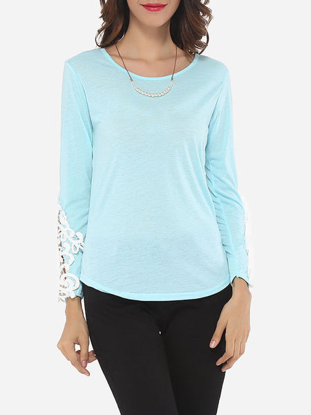 Lace Plain Exquisite Round Neck Long-sleeve-t-shirt - Bychicstyle.com