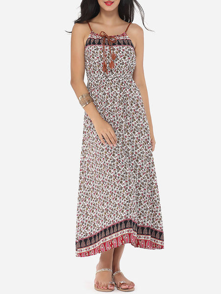 Floral Printed Charming Spaghetti Strap Maxi-dress - Bychicstyle.com